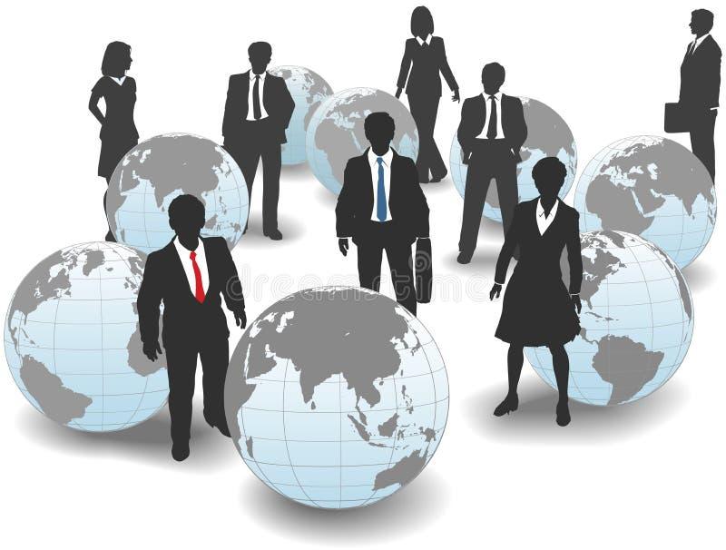 Ομάδα παγκόσμιων σφαιρική εργατικών δυναμικών επιχειρηματιών διανυσματική απεικόνιση