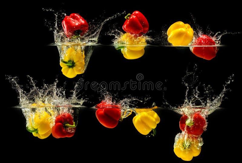 Ομάδα πιπεριού κουδουνιών που εμπίπτει στο νερό στοκ εικόνα με δικαίωμα ελεύθερης χρήσης