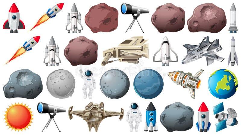 Ομάδα πλανητών και διαστήματος obejcts ελεύθερη απεικόνιση δικαιώματος