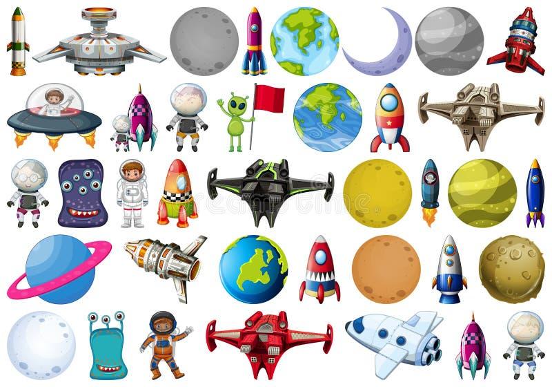 Ομάδα πλανητών και διαστήματος obejcts απεικόνιση αποθεμάτων