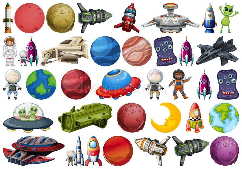 Ομάδα πλανητών και διαστήματος obejcts διανυσματική απεικόνιση