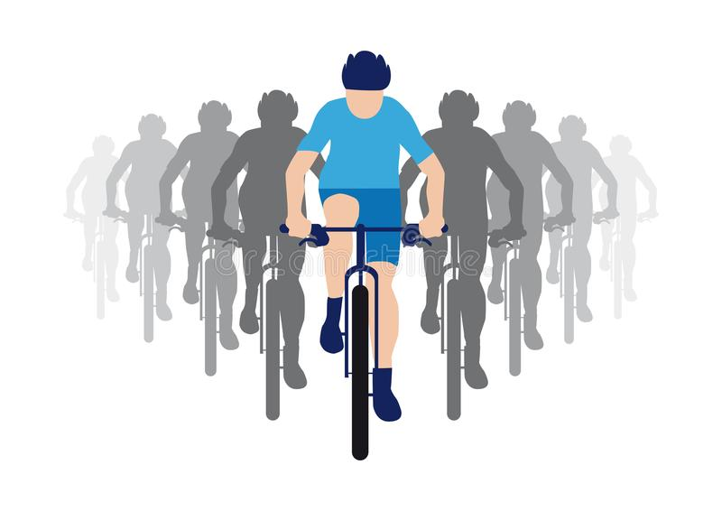 Ομάδα ποδηλατών με το αρχηγό ομάδας στον μπλε αγώνα Τζέρσεϋ, εικονίδιο ποδηλατών απεικόνιση αποθεμάτων