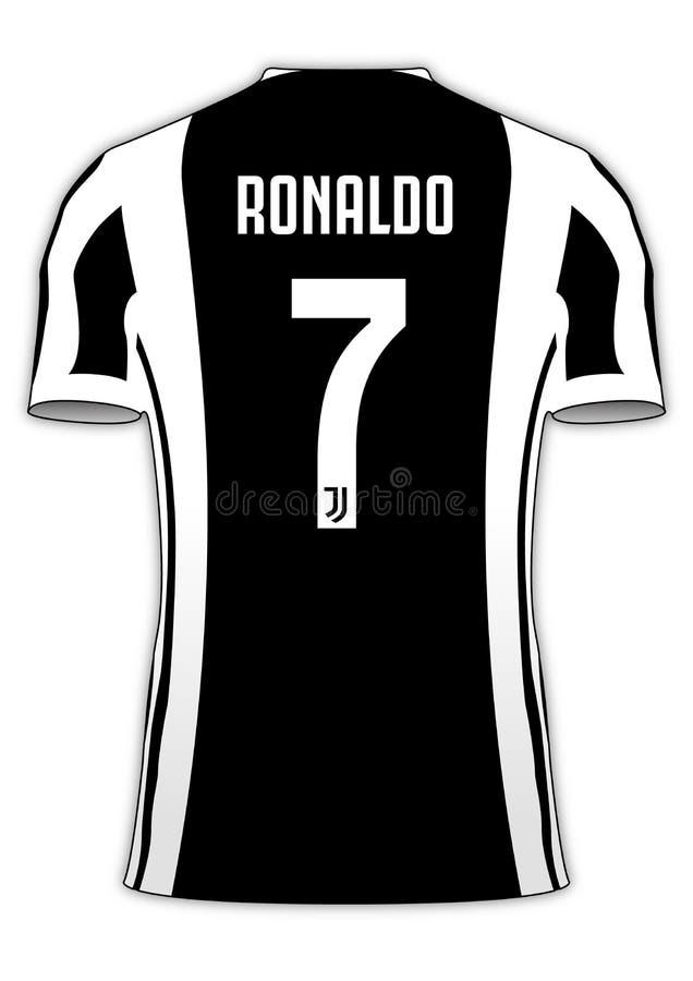 Ομάδα ποδοσφαίρου Τζέρσεϋ αριθμός 7 του Κριστιάνο Ρονάλντο Juventus ελεύθερη απεικόνιση δικαιώματος