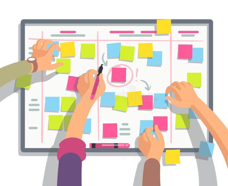Ομάδα προγραμματισμού υπεύθυνων για την ανάπτυξη τους εβδομαδιαίους στόχους προγράμματος στον πίνακα στόχου Διανυσματική επίπεδη  ελεύθερη απεικόνιση δικαιώματος
