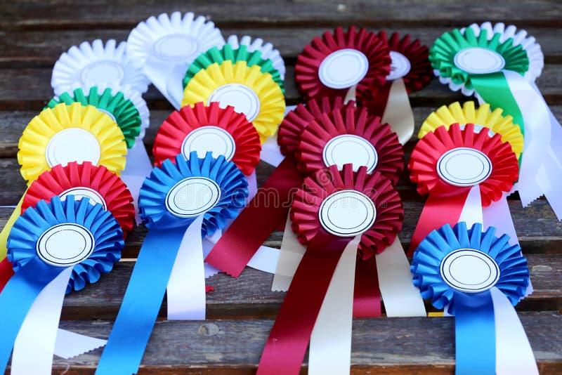 Ομάδα ροζέτων αθλητικών trophys διακριτικών ιππασίας ιππικών στον πίνακα στο ιππικό γεγονός στοκ φωτογραφία