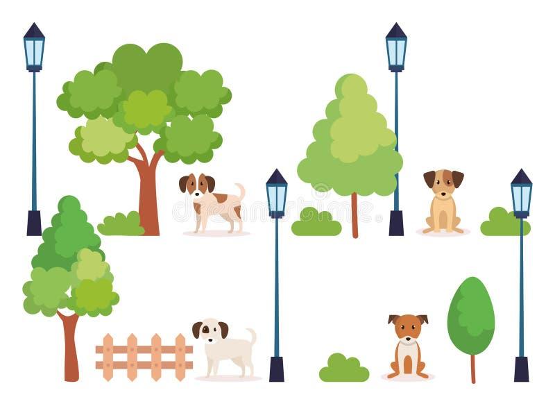 Ομάδα σκυλιών στο πάρκο διανυσματική απεικόνιση