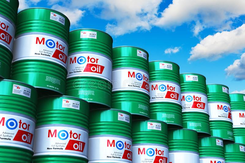 Ομάδα συσσωρευμένων βαρελιών με το λιπαντικό πετρελαίου μηχανών ενάντια στο μπλε s διανυσματική απεικόνιση