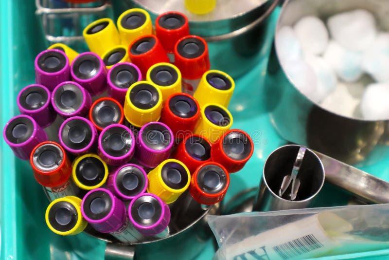 Ομάδα σωλήνα δειγμάτων αίματος για τις εξετάσεις αίματος στοκ φωτογραφίες με δικαίωμα ελεύθερης χρήσης
