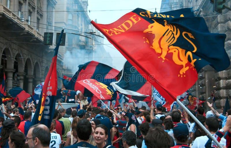 ομάδα της Γένοβας ποδοσφαίρου εορτασμού στοκ εικόνες με δικαίωμα ελεύθερης χρήσης