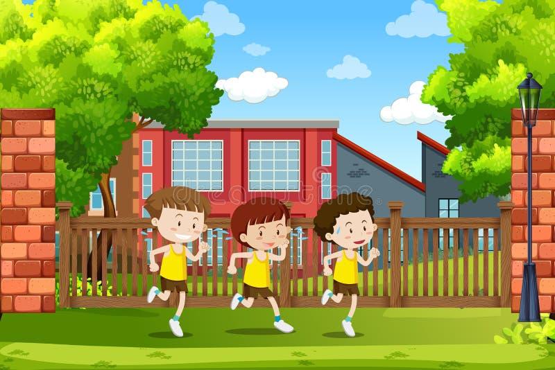 Ομάδα τρεξίματος αγοριών απεικόνιση αποθεμάτων