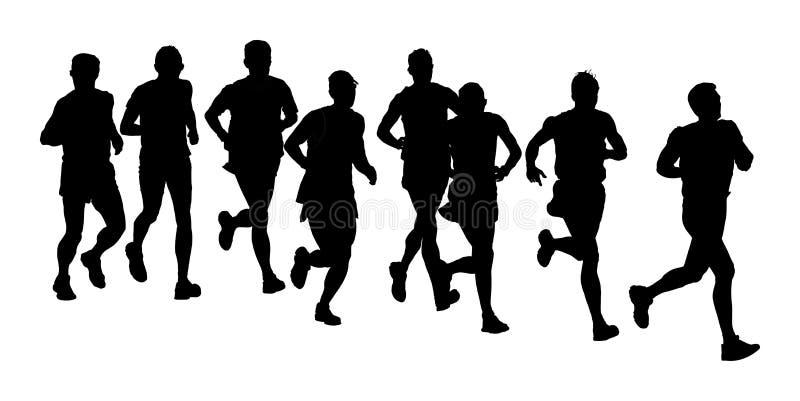 Ομάδα τρεξίματος δρομέων μαραθωνίου Οι άνθρωποι μαραθωνίου σκιαγραφούν απεικόνιση αποθεμάτων