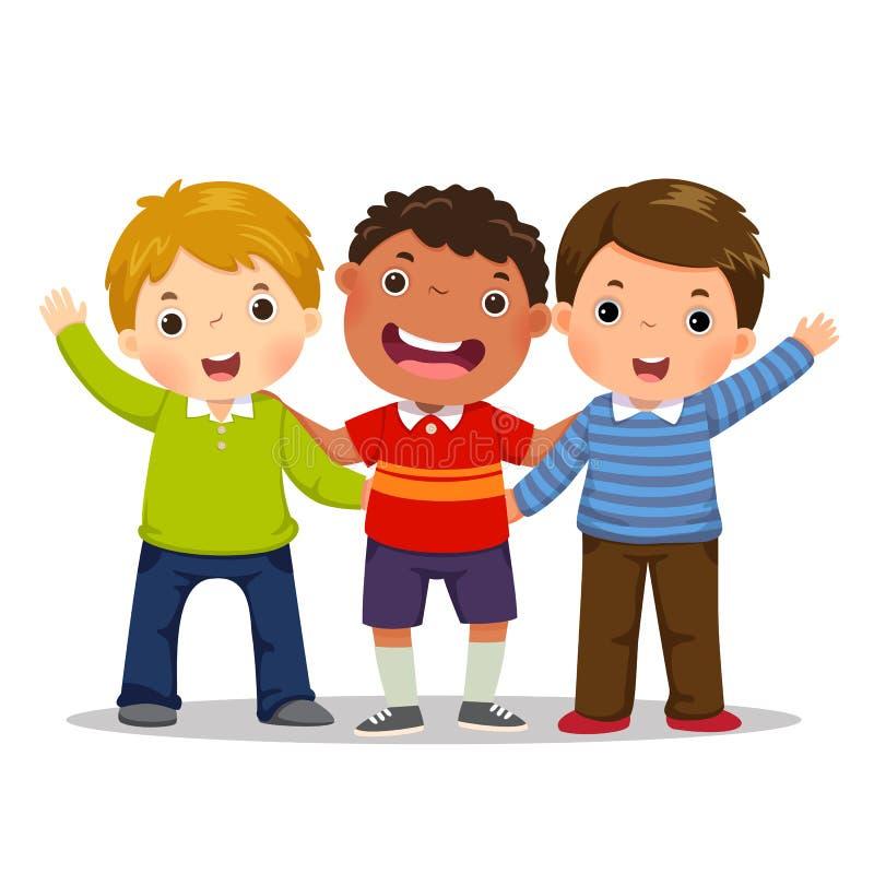 Ομάδα τριών ευτυχών αγοριών που στέκονται από κοινού σκοτεινό πορτρέτο δύο πελεκάνων φιλίας έννοιας ανασκόπησης υγρό διανυσματική απεικόνιση