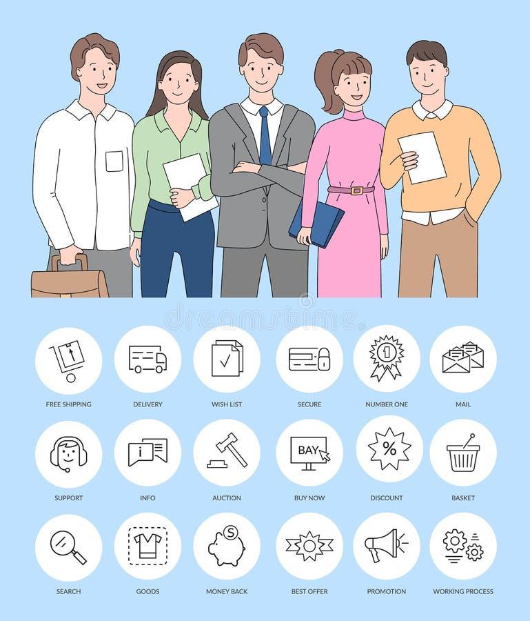 Ομάδα των επιχειρησιακών εργαζομένων, εικονίδια επιχειρηματιών απεικόνιση αποθεμάτων