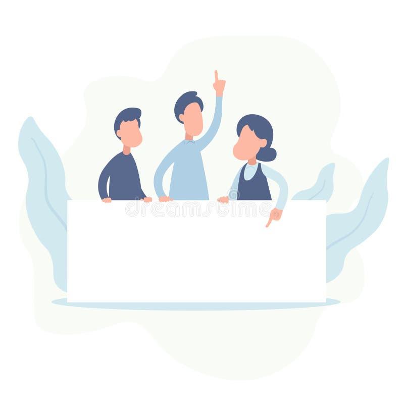 Ομάδα των ευτυχών επιχειρηματιών που κρατούν τον κενό πίνακα Επιχειρησιακή παρουσίαση ή ανακοίνωση illestration που απομονώνεται  ελεύθερη απεικόνιση δικαιώματος