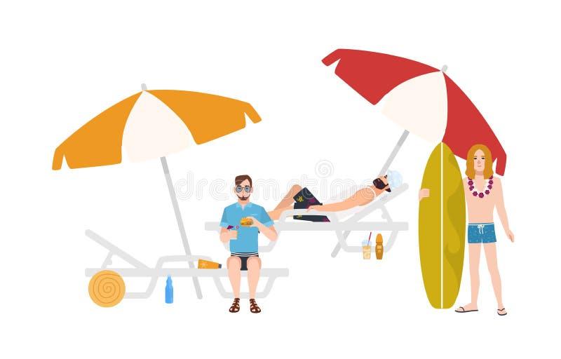 Ομάδα τύπων beachwear να βρεθεί και το κάθισμα στα sunloungers με τις ομπρέλες ή τη στάση εκτός από το, που χαλαρώνει και διανυσματική απεικόνιση
