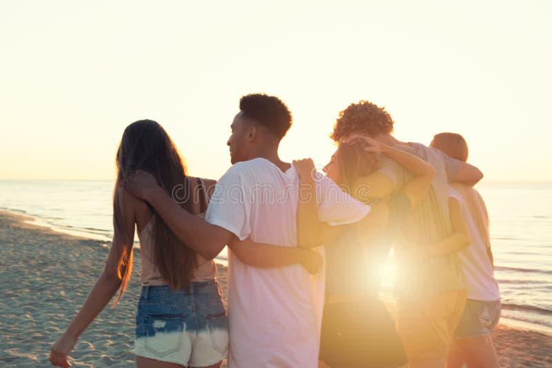 Ομάδα φίλων που έχουν τη διασκέδαση στην παραλία Έννοια του καλοκαιριού στοκ φωτογραφίες με δικαίωμα ελεύθερης χρήσης