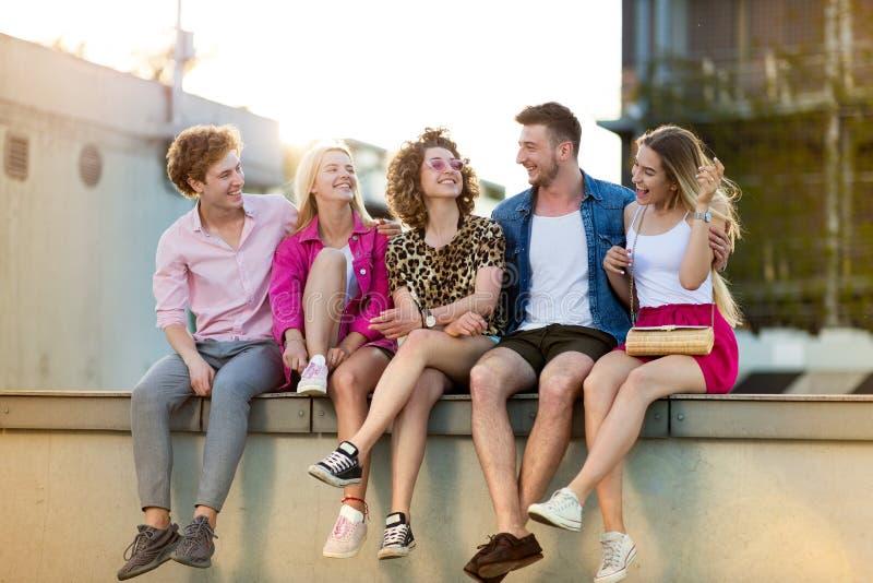 Ομάδα φίλων που έχουν τη διασκέδαση υπαίθρια στοκ εικόνες