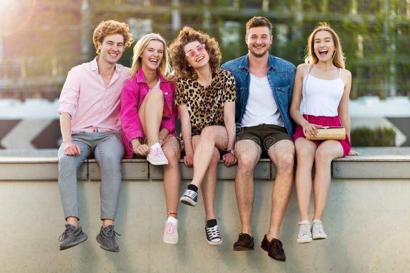 Ομάδα φίλων που έχουν τη διασκέδαση υπαίθρια στοκ εικόνα με δικαίωμα ελεύθερης χρήσης