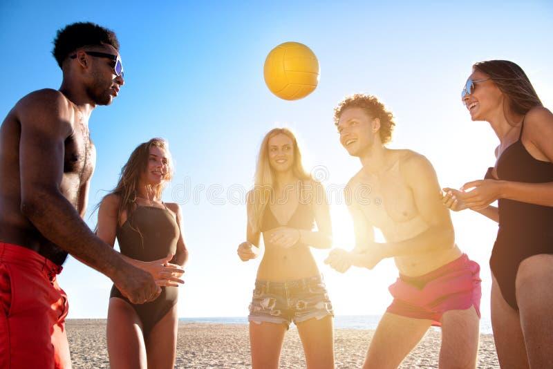 Ομάδα φίλων που παίζουν volley παραλιών στην παραλία στοκ φωτογραφία