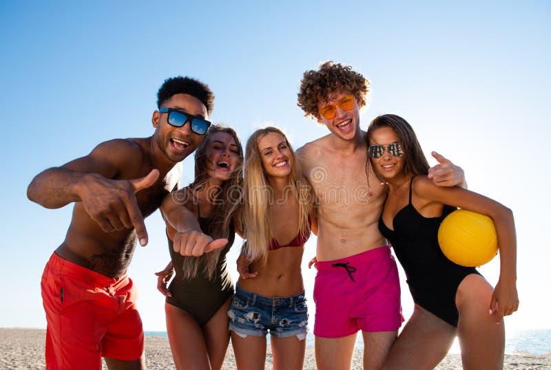 Ομάδα φίλων που παίζουν volley παραλιών στην παραλία στοκ εικόνα με δικαίωμα ελεύθερης χρήσης