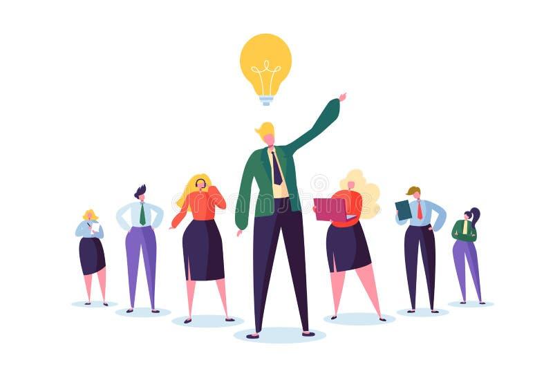 Ομάδα χαρακτήρων επιχειρηματιών με τον ηγέτη Έννοια ομαδικής εργασίας και ηγεσίας επιχειρηματίας επιτυχής απεικόνιση αποθεμάτων