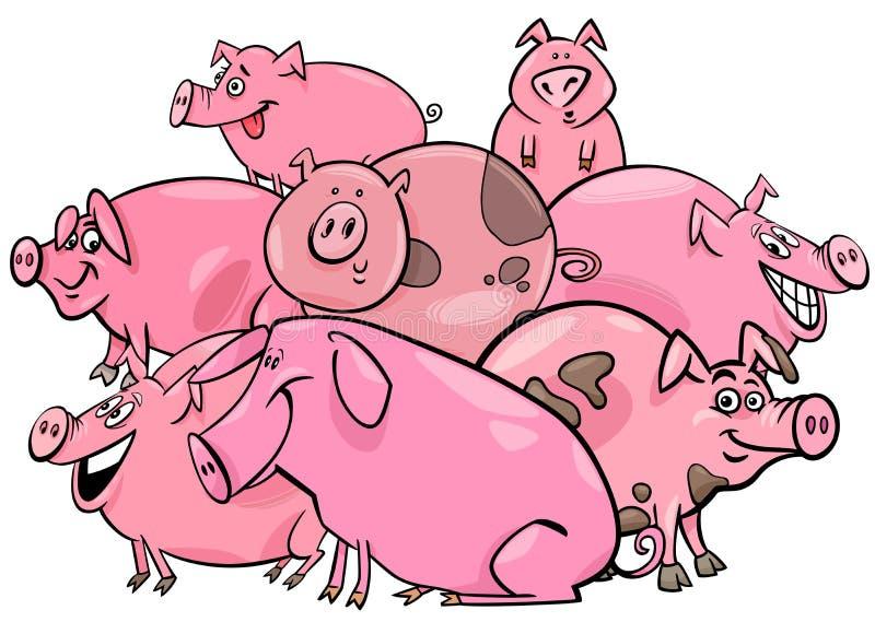 Ομάδα χαρακτηρών κινουμένων σχεδίων ζώων αγροκτημάτων χοίρων απεικόνιση αποθεμάτων