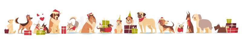 Ομάδα χαριτωμένων σκυλιών στο σύμβολο καπέλων Santa διακοπών έτους και Χριστουγέννων του 2018 των νέων που απομονώνονται στο άσπρ απεικόνιση αποθεμάτων
