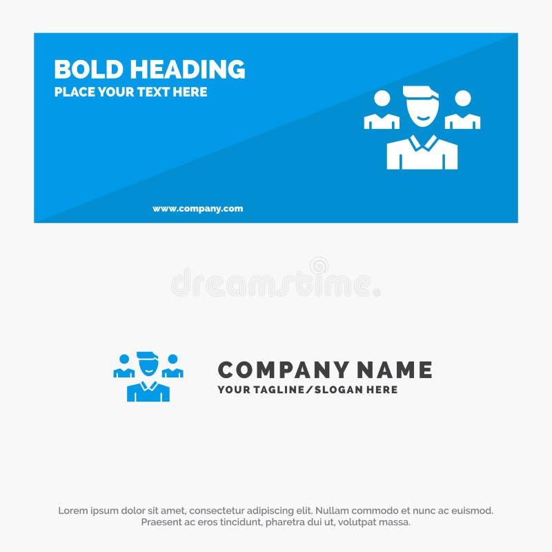 Ομάδα, χρήστης, διευθυντής, στερεά έμβλημα ιστοχώρου εικονιδίων ομάδας και πρότυπο επιχειρησιακών λογότυπων διανυσματική απεικόνιση