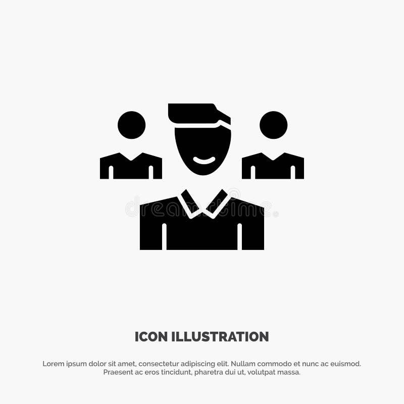 Ομάδα, χρήστης, διευθυντής, στερεό διάνυσμα εικονιδίων Glyph ομάδας απεικόνιση αποθεμάτων