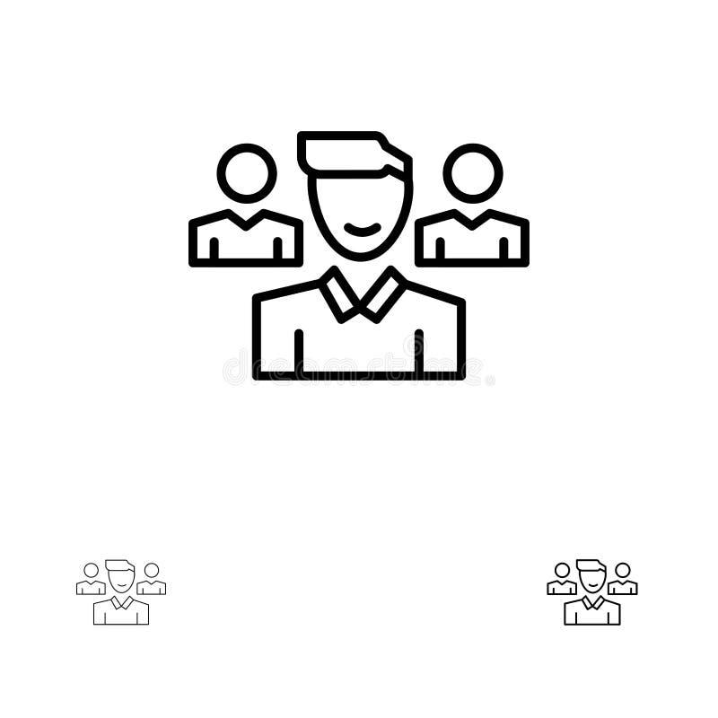 Ομάδα, χρήστης, διευθυντής, τολμηρό και λεπτό μαύρο σύνολο εικονιδίων γραμμών ομάδας απεικόνιση αποθεμάτων