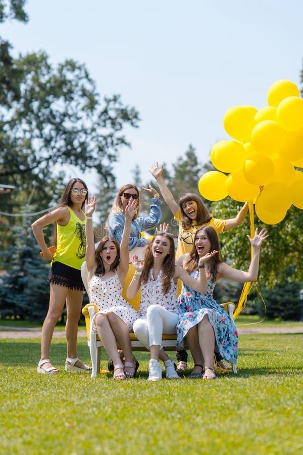 Ομάδα όμορφων κοριτσιών που γελούν στο χορτοτάπητα στοκ φωτογραφία