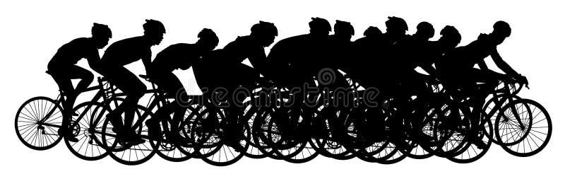 Ομάδα bicyclists στη φυλή που οδηγά ένα διάνυσμα ποδηλάτων ελεύθερη απεικόνιση δικαιώματος