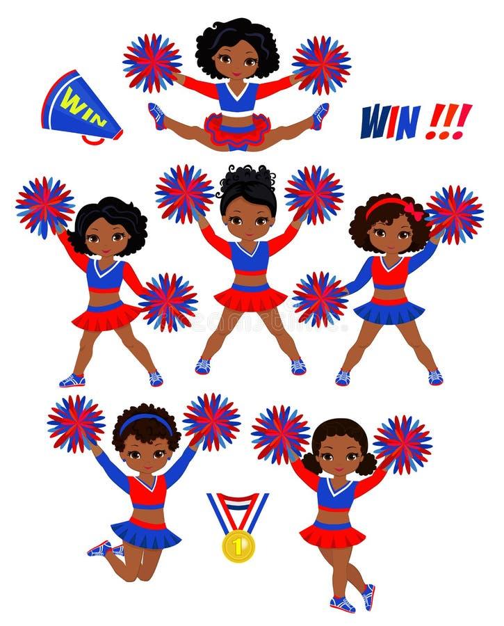 Ομάδα Cheerleadears των κοριτσιών Ομοιόμορφη κόκκινη μπλε διανυσματική απεικόνιση Cheerleading ελεύθερη απεικόνιση δικαιώματος