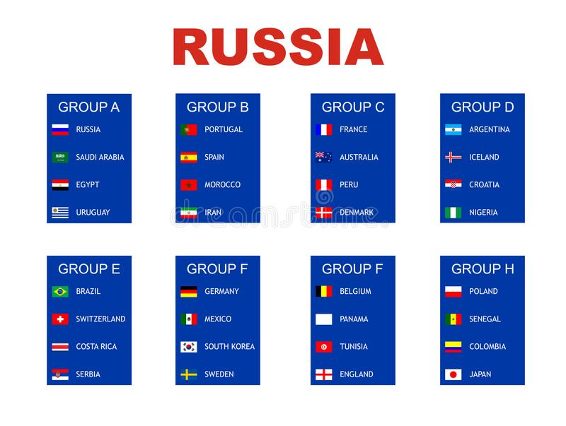 Ομάδες παγκόσμιου πρωταθλήματος ποδοσφαίρου διανυσματική απεικόνιση