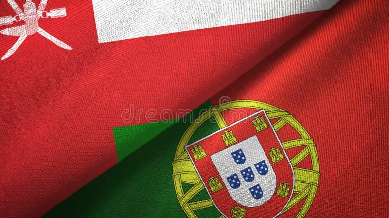 Ομάν και Πορτογαλία δύο υφαντικό ύφασμα σημαιών, σύσταση υφάσματος απεικόνιση αποθεμάτων