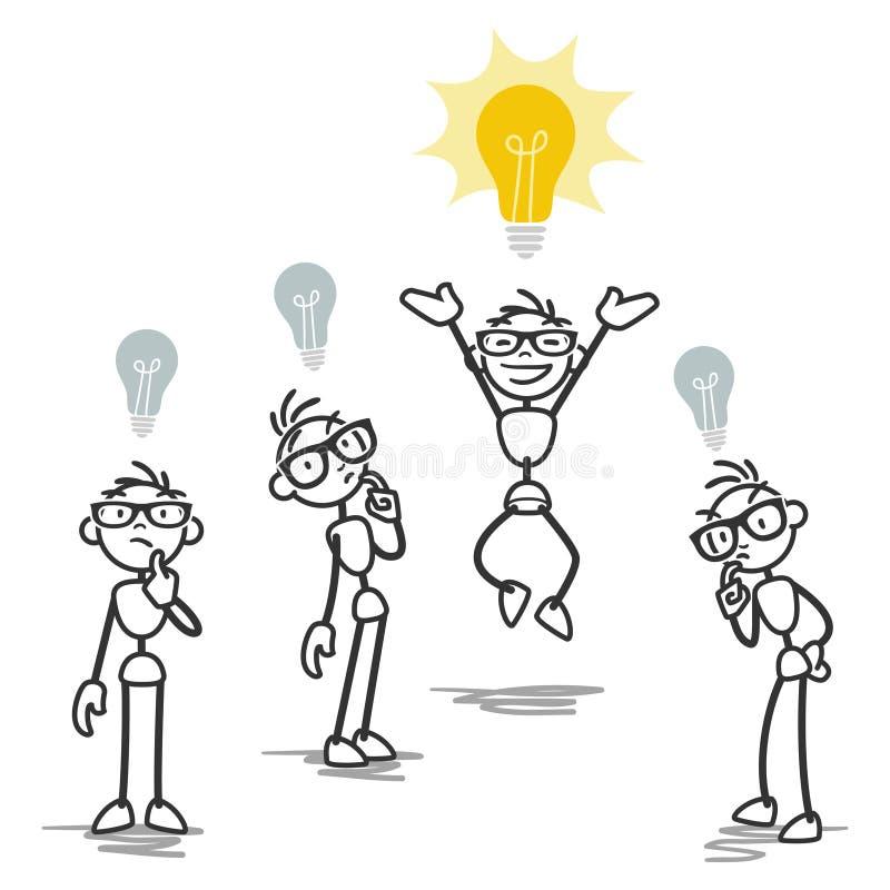 Ομάδα, ένα άτομο ραβδιών που έχει τη λαμπρή ιδέα ελεύθερη απεικόνιση δικαιώματος