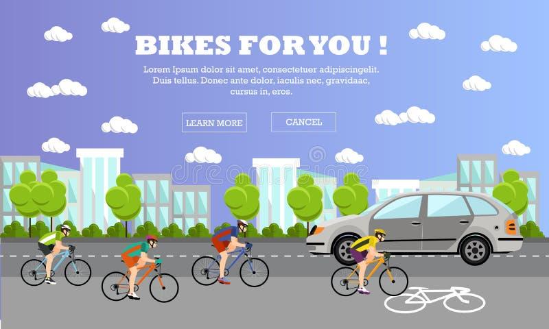 Ομάδα αναβατών κύκλων στα ποδήλατα Οδός με τη γραμμή ποδηλάτων Διανυσματική απεικόνιση στο επίπεδο σχέδιο ύφους απεικόνιση αποθεμάτων