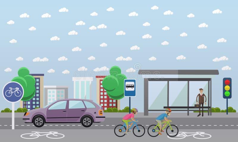 Ομάδα αναβατών ποδηλάτων στα ποδήλατα Οδός με τη γραμμή ποδηλάτων Διανυσματική απεικόνιση στο επίπεδο σχέδιο ύφους διανυσματική απεικόνιση