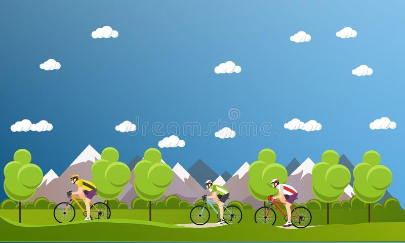 Ομάδα αναβατών ποδηλάτων στα ποδήλατα στα βουνά και το πάρκο Εμβλήματα κινούμενων σχεδίων αθλητικής έννοιας Biking Διανυσματική α διανυσματική απεικόνιση