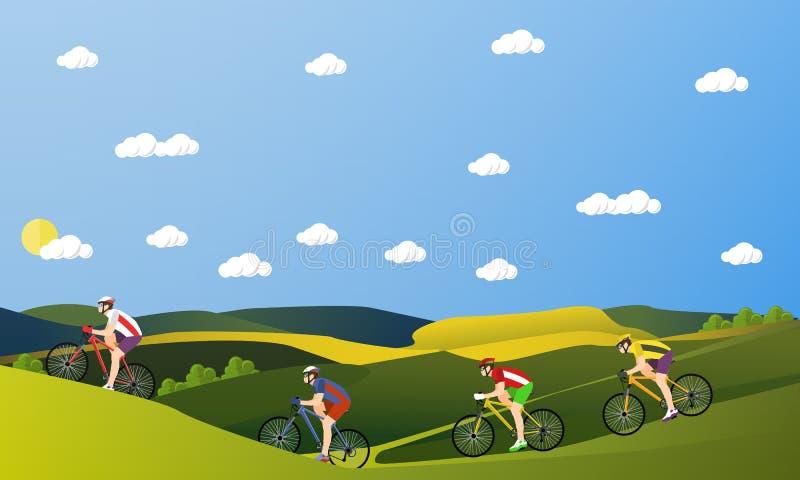 Ομάδα αναβατών ποδηλάτων στα ποδήλατα στα βουνά και το πάρκο Εμβλήματα κινούμενων σχεδίων αθλητικής έννοιας Biking Διανυσματική α απεικόνιση αποθεμάτων