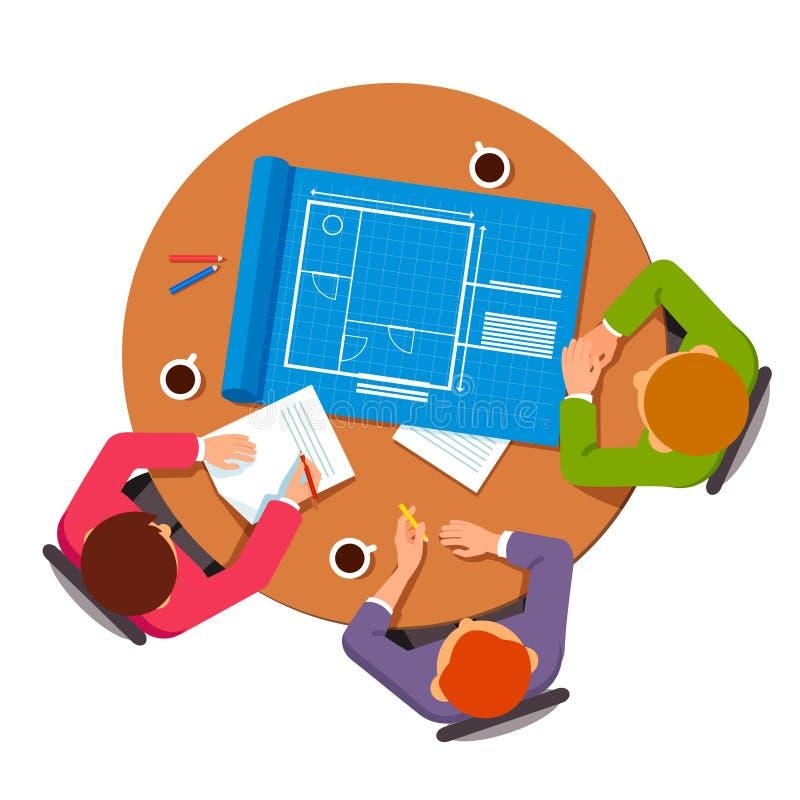 Ομάδα αρχιτεκτόνων που συζητούν τα σχέδια οικοδόμησης διανυσματική απεικόνιση