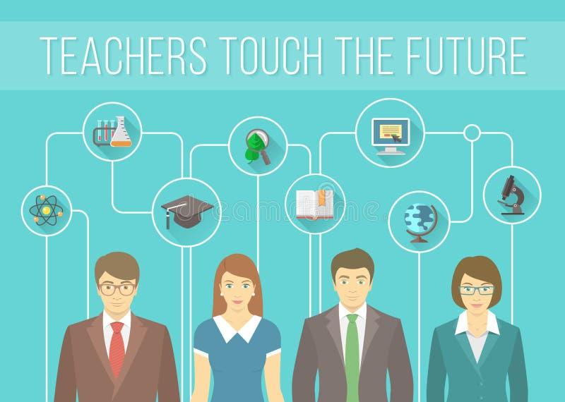 Ομάδα δασκάλων με τα εκπαιδευτικά εικονίδια διανυσματική απεικόνιση