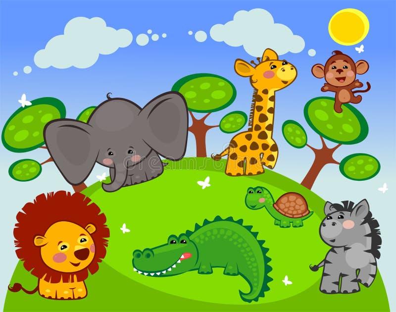 Ομάδα αφρικανικών ζώων ελεύθερη απεικόνιση δικαιώματος
