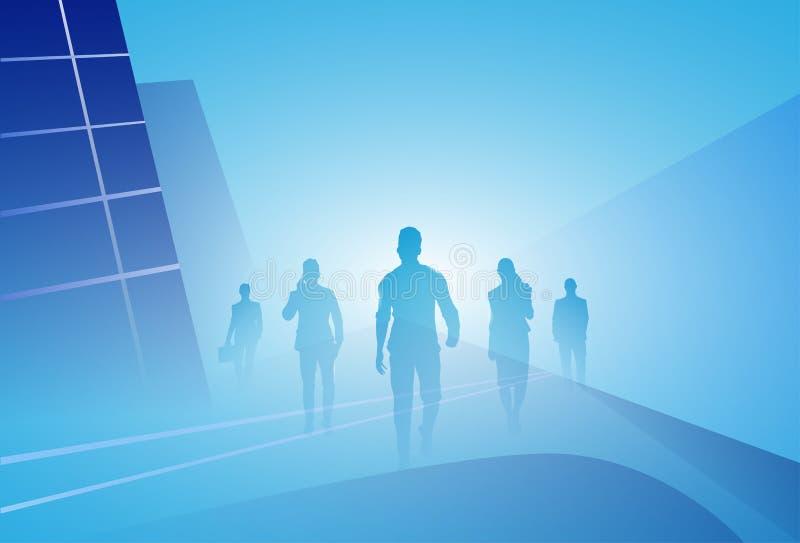 Ομάδα βήματος προς τα εμπρός περιπάτων Businesspeople σκιαγραφιών επιχειρηματιών πέρα από το αφηρημένο υπόβαθρο ελεύθερη απεικόνιση δικαιώματος