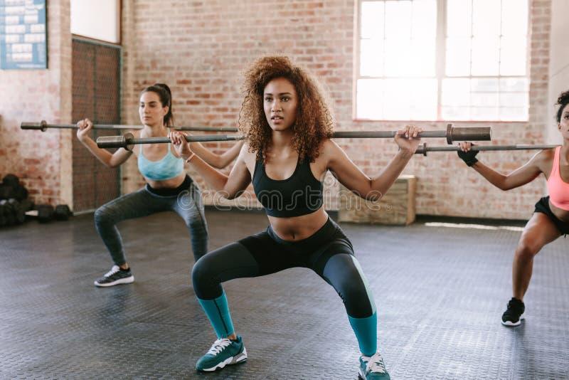 Ομάδα γυναικών με τα barbells στη γυμναστική στοκ εικόνες με δικαίωμα ελεύθερης χρήσης