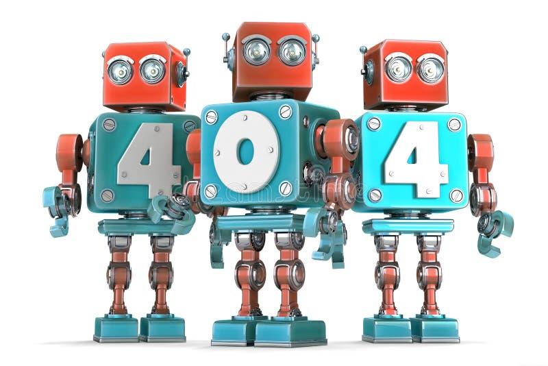 Ομάδα εκλεκτής ποιότητας ρομπότ με το σημάδι 404 απομονωμένος Περιέχει το μονοπάτι ψαλιδίσματος ελεύθερη απεικόνιση δικαιώματος