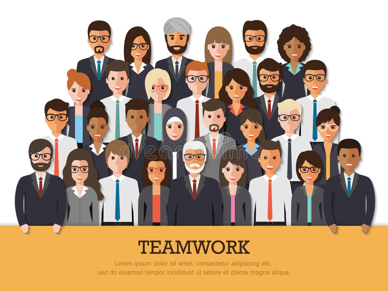 Ομάδα επιχειρηματιών και επιχειρηματιών διανυσματική απεικόνιση