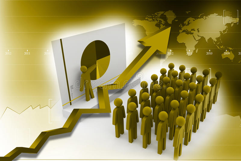 Ομάδα επιχειρηματιών με το διάγραμμα πιτών απεικόνιση αποθεμάτων