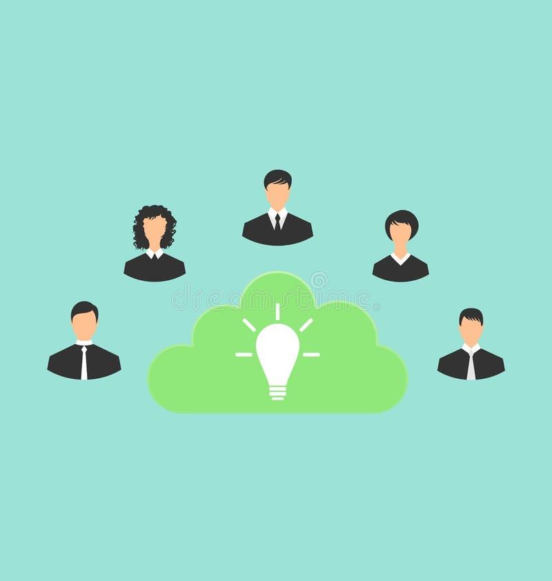 Ομάδα επιχειρηματιών που δημιουργούν τη νέα ιδέα απεικόνιση αποθεμάτων