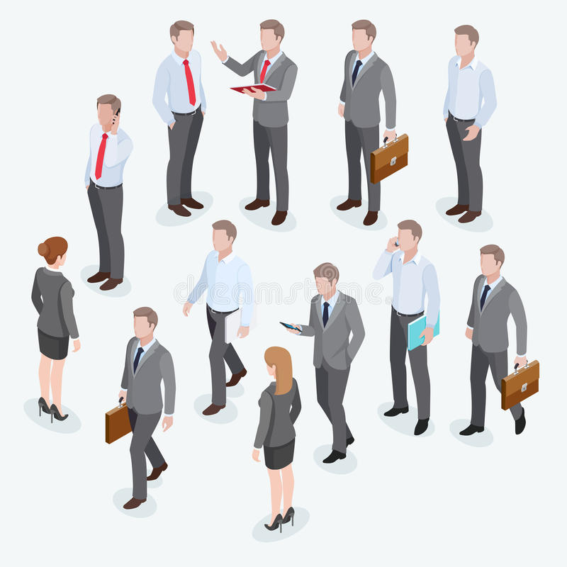 Ομάδα επιχειρησιακού ανθρώπινου isometric σχεδίου διανυσματική απεικόνιση